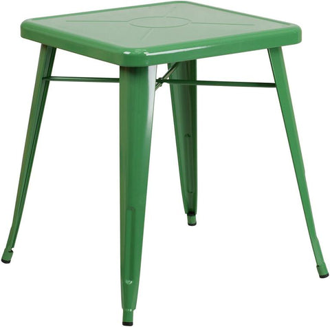 Flash Furniture CH-31330-29-GN-GG 23.75'' Square Green Metal Indoor-Outdoor Table - Peazz Furniture