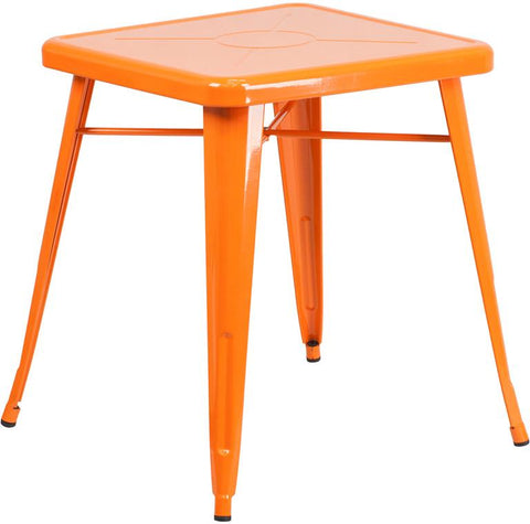 Flash Furniture CH-31330-29-OR-GG 23.75'' Square Orange Metal Indoor-Outdoor Table - Peazz Furniture