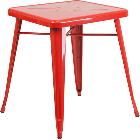 Flash Furniture CH-31330-29-RED-GG 23.75'' Square Red Metal Indoor-Outdoor Table - Peazz Furniture
