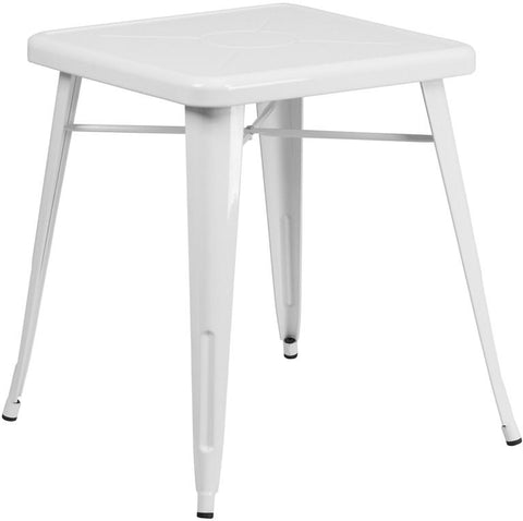 Flash Furniture CH-31330-29-WH-GG 23.75'' Square White Metal Indoor-Outdoor Table - Peazz Furniture