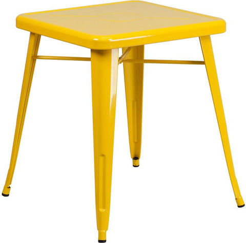 Flash Furniture CH-31330-29-YL-GG 23.75'' Square Yellow Metal Indoor-Outdoor Table - Peazz Furniture