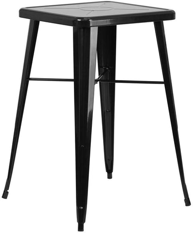 Flash Furniture CH-31330-BK-GG 23.75'' Square Black Metal Indoor-Outdoor Bar Height Table - Peazz Furniture