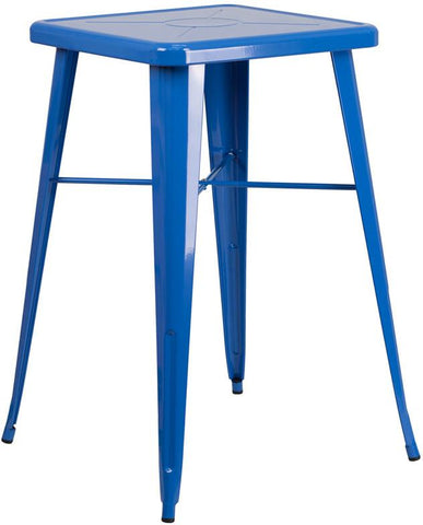 Flash Furniture CH-31330-BL-GG 23.75'' Square Blue Metal Indoor-Outdoor Bar Height Table - Peazz Furniture