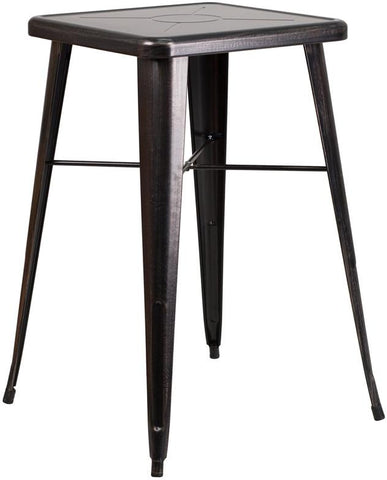 Flash Furniture CH-31330-BQ-GG 23.75'' Square Black-Antique Gold Metal Indoor-Outdoor Bar Height Table - Peazz Furniture