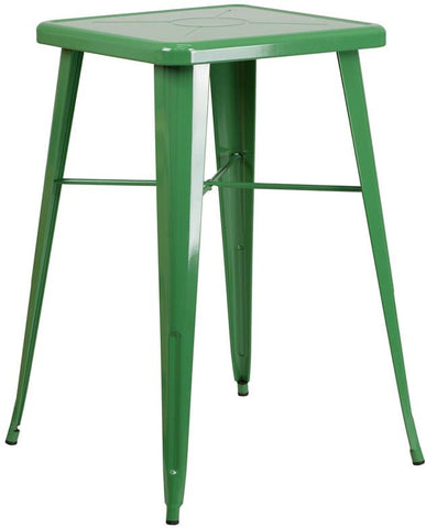 Flash Furniture CH-31330-GN-GG 23.75'' Square Green Metal Indoor-Outdoor Bar Height Table - Peazz Furniture