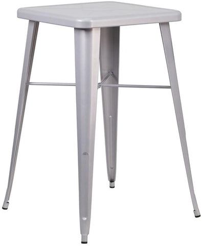 Flash Furniture CH-31330-SIL-GG 23.75'' Square Silver Metal Indoor-Outdoor Bar Height Table - Peazz Furniture