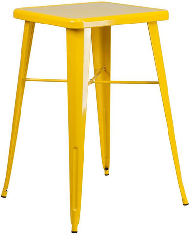 Flash Furniture CH-31330-YL-GG 23.75'' Square Yellow Metal Indoor-Outdoor Bar Height Table - Peazz Furniture