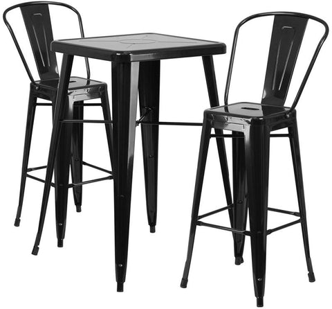 Flash Furniture CH-31330B-2-30GB-BK-GG 23.75'' Square Black Metal Indoor-Outdoor Bar Table Set with 2 Barstools - Peazz Furniture