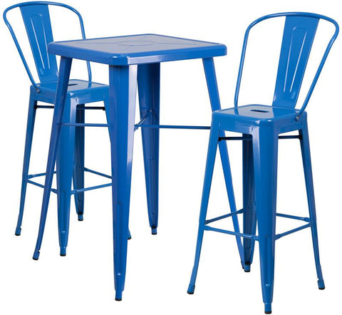 Flash Furniture CH-31330B-2-30GB-BL-GG 23.75'' Square Blue Metal Indoor-Outdoor Bar Table Set with 2 Barstools - Peazz Furniture