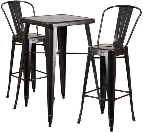 Flash Furniture CH-31330B-2-30GB-BQ-GG 23.75'' Square Black-Antique Gold Metal Indoor-Outdoor Bar Table Set with 2 Barstools - Peazz Furniture