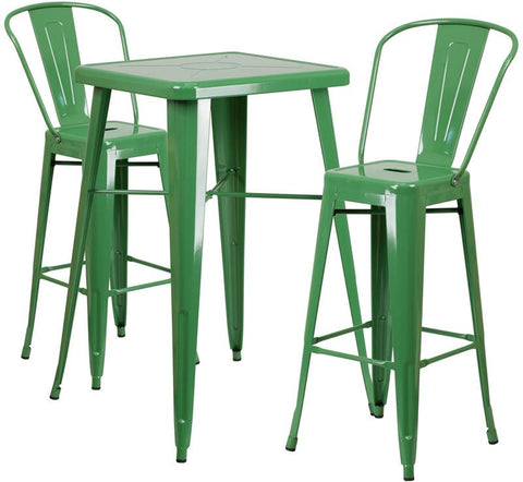 Flash Furniture CH-31330B-2-30GB-GN-GG 23.75'' Square Green Metal Indoor-Outdoor Bar Table Set with 2 Barstools - Peazz Furniture