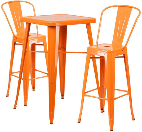 Flash Furniture CH-31330B-2-30GB-OR-GG 23.75'' Square Orange Metal Indoor-Outdoor Bar Table Set with 2 Barstools - Peazz Furniture