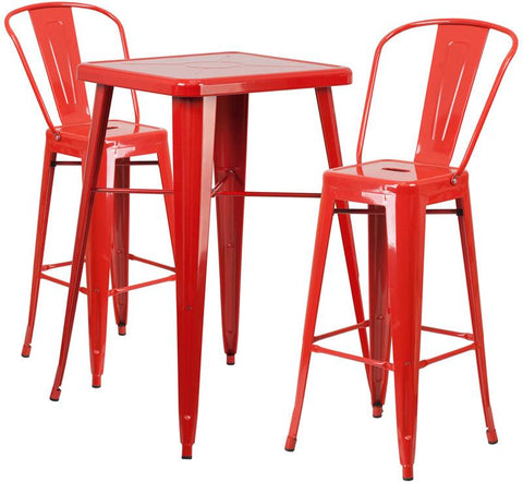 Flash Furniture CH-31330B-2-30GB-RED-GG 23.75'' Square Red Metal Indoor-Outdoor Bar Table Set with 2 Barstools - Peazz Furniture