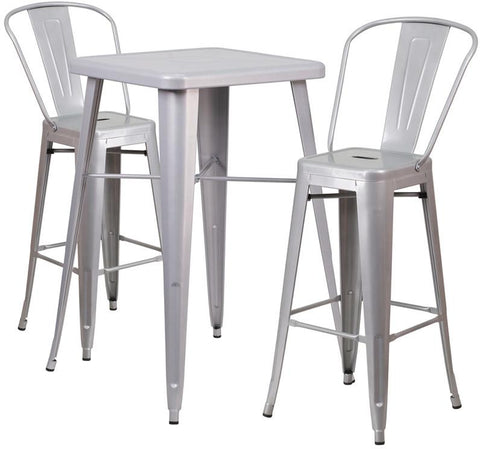 Flash Furniture CH-31330B-2-30GB-SIL-GG 23.75'' Square Silver Metal Indoor-Outdoor Bar Table Set with 2 Barstools - Peazz Furniture