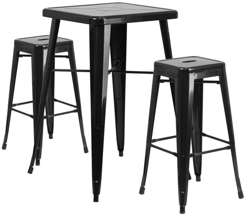 Flash Furniture CH-31330B-2-30SQ-BK-GG 23.75'' Square Black Metal Indoor-Outdoor Bar Table Set with 2 Backless Barstools - Peazz Furniture