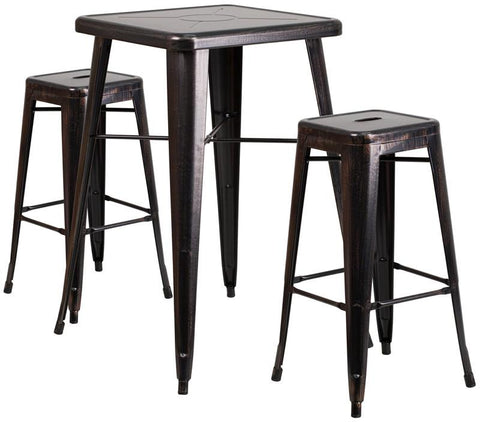 Flash Furniture CH-31330B-2-30SQ-BQ-GG 23.75'' Square Black-Antique Gold Metal Indoor-Outdoor Bar Table Set with 2 Backless Barstools - Peazz Furniture