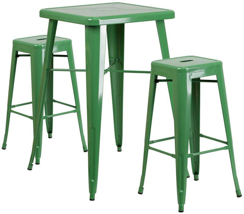 Flash Furniture CH-31330B-2-30SQ-GN-GG 23.75'' Square Green Metal Indoor-Outdoor Bar Table Set with 2 Backless Barstools - Peazz Furniture