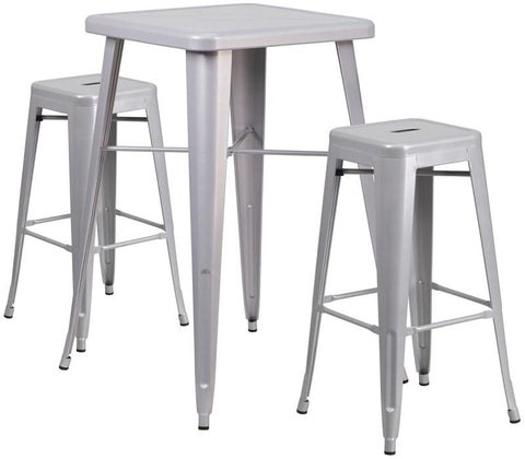 Flash Furniture CH-31330B-2-30SQ-SIL-GG 23.75'' Square Silver Metal Indoor-Outdoor Bar Table Set with 2 Backless Barstools - Peazz Furniture