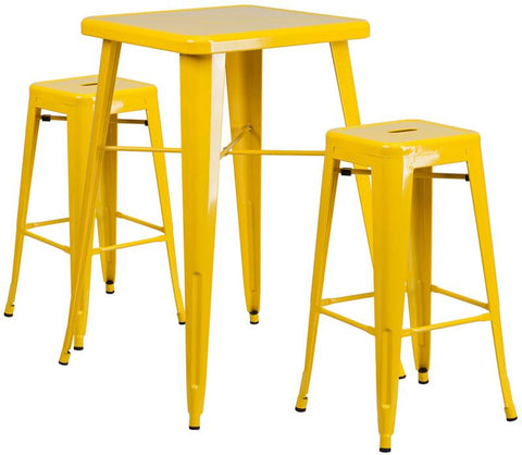 Flash Furniture CH-31330B-2-30SQ-YL-GG 23.75'' Square Yellow Metal Indoor-Outdoor Bar Table Set with 2 Backless Barstools - Peazz Furniture
