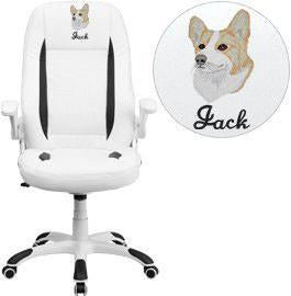 Flash Furniture CH-CX0176H06-WH-EMB-GG Embroidered High Back White Leather Executive Swivel Office Chair with Flip-Up Arms - Peazz Furniture