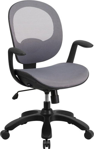 Flash Furniture CS-YAPI-GY-GG Mid-Back Gray Mesh Swivel Task Chair with Seat Slider and Ratchet Back - Peazz Furniture - 1