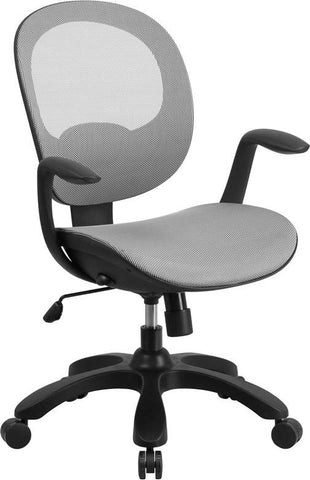 Flash Furniture CS-YAPI-WH-GG Mid-Back White Mesh Swivel Task Chair with Seat Slider and Ratchet Back - Peazz Furniture - 1