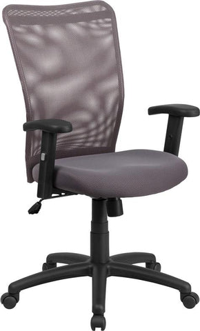 Flash Furniture CY54A-GY-A-GG High Back Gray Mesh Executive Ergonomic Swivel Office Chair with Arms - Peazz Furniture