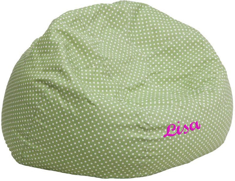 Flash Furniture DG-BEAN-LARGE-DOT-GRN-TXTEMB-GG Personalized Oversized Green Dot Bean Bag Chair - Peazz Furniture