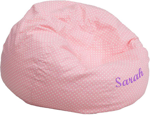 Flash Furniture DG-BEAN-LARGE-DOT-PK-EMB-GG Personalized Oversized Light Pink Dot Bean Bag Chair - Peazz Furniture