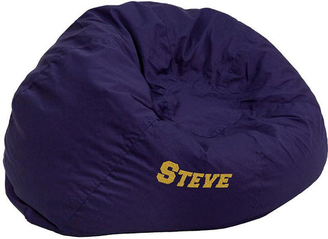 Flash Furniture DG-BEAN-LARGE-SOLID-BL-EMB-GG Personalized Oversized Solid Navy Blue Bean Bag Chair - Peazz Furniture