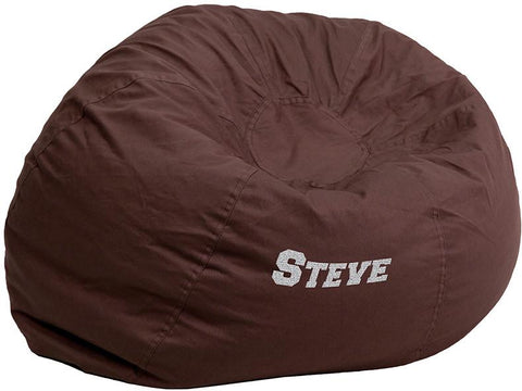 Flash Furniture DG-BEAN-LARGE-SOLID-BRN-EMB-GG Personalized Oversized Solid Brown Bean Bag Chair - Peazz Furniture