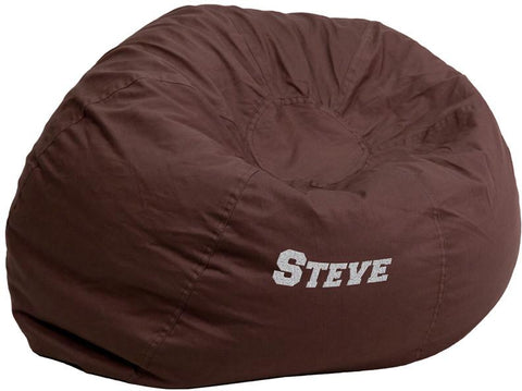 Flash Furniture DG-BEAN-LARGE-SOLID-BRN-TXTEMB-GG Personalized Oversized Solid Brown Bean Bag Chair - Peazz Furniture