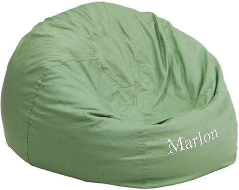 Flash Furniture DG-BEAN-LARGE-SOLID-GRN-EMB-GG Personalized Oversized Solid Green Bean Bag Chair - Peazz Furniture