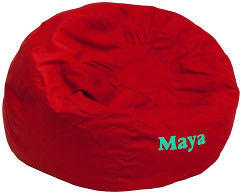 Flash Furniture DG-BEAN-LARGE-SOLID-RED-EMB-GG Personalized Oversized Solid Red Bean Bag Chair - Peazz Furniture