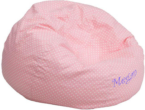 Flash Furniture DG-BEAN-SMALL-DOT-PK-EMB-GG Personalized Small Light Pink Dot Kids Bean Bag Chair - Peazz Furniture
