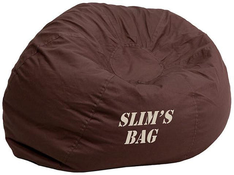 Flash Furniture DG-BEAN-SMALL-SOLID-BRN-EMB-GG Personalized Small Solid Brown Kids Bean Bag Chair - Peazz Furniture