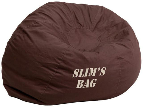 Flash Furniture DG-BEAN-SMALL-SOLID-BRN-TXTEMB-GG Personalized Small Solid Brown Kids Bean Bag Chair - Peazz Furniture