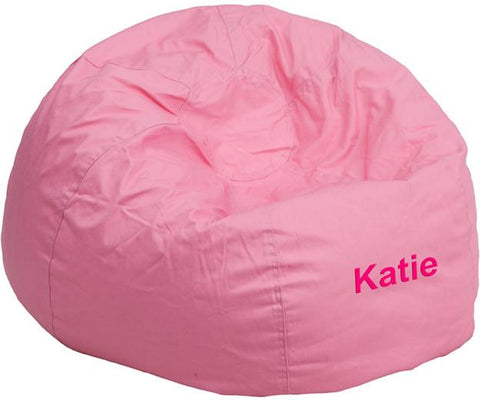 Flash Furniture DG-BEAN-SMALL-SOLID-PK-TXTEMB-GG Personalized Small Solid Light Pink Kids Bean Bag Chair - Peazz Furniture