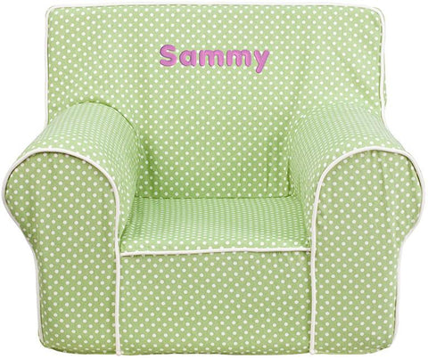 Flash Furniture DG-CH-KID-DOT-GRN-EMB-GG Personalized Small Green Dot Kids Chair with White Piping - Peazz Furniture