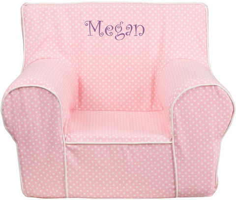 Flash Furniture DG-CH-KID-DOT-PK-TXTEMB-GG Personalized Small Light Pink Dot Kids Chair with White Piping - Peazz Furniture
