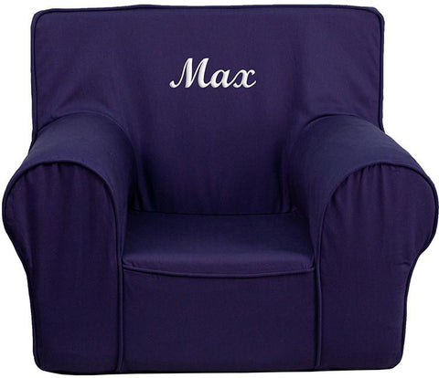 Flash Furniture DG-CH-KID-SOLID-BL-EMB-GG Personalized Small Solid Navy Blue Kids Chair - Peazz Furniture