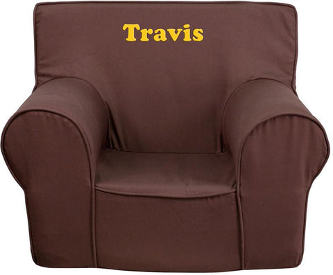 Flash Furniture DG-CH-KID-SOLID-BRN-EMB-GG Personalized Small Solid Brown Kids Chair - Peazz Furniture