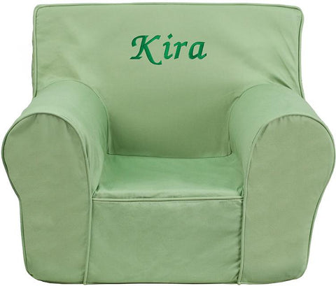 Flash Furniture DG-CH-KID-SOLID-GRN-EMB-GG Personalized Small Solid Green Kids Chair - Peazz Furniture