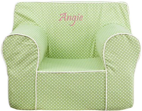 Flash Furniture DG-LGE-CH-KID-DOT-GRN-EMB-GG Personalized Oversized Green Dot Kids Chair with White Piping - Peazz Furniture