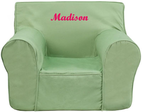 Flash Furniture DG-LGE-CH-KID-SOLID-GRN-EMB-GG Personalized Oversized Solid Green Kids Chair - Peazz Furniture