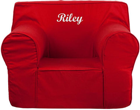 Flash Furniture DG-LGE-CH-KID-SOLID-RED-EMB-GG Personalized Oversized Solid Red Kids Chair - Peazz Furniture