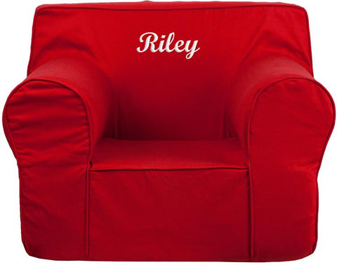 Flash Furniture DG-LGE-CH-KID-SOLID-RED-TXTEMB-GG Personalized Oversized Solid Red Kids Chair - Peazz Furniture
