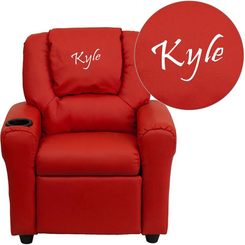 Flash Furniture DG-ULT-KID-RED-TXTEMB-GG Personalized Red Vinyl Kids Recliner with Cup Holder and Headrest - Peazz Furniture