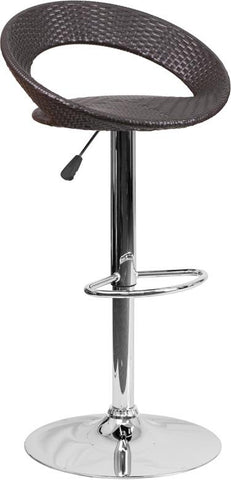 Flash Furniture DS-715-GG Contemporary Wicker Rounded Back Adjustable Height Barstool with Chrome Base - Peazz Furniture - 1
