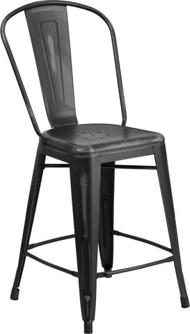 Flash Furniture ET-3534-24-BK-GG 24'' High Distressed Black Metal Indoor Counter Height Stool with Back - Peazz Furniture